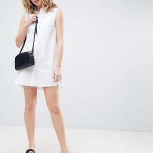 Asos white sleeveless shirt dress